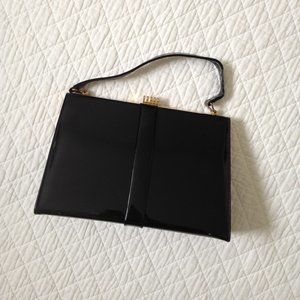 Vintage Faux Patent Black Handbag